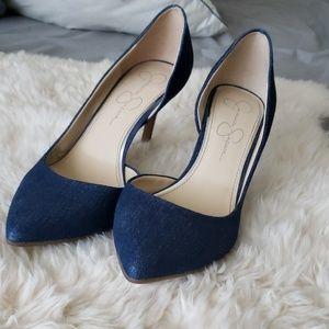 Jessica Simpson denim jeans heels